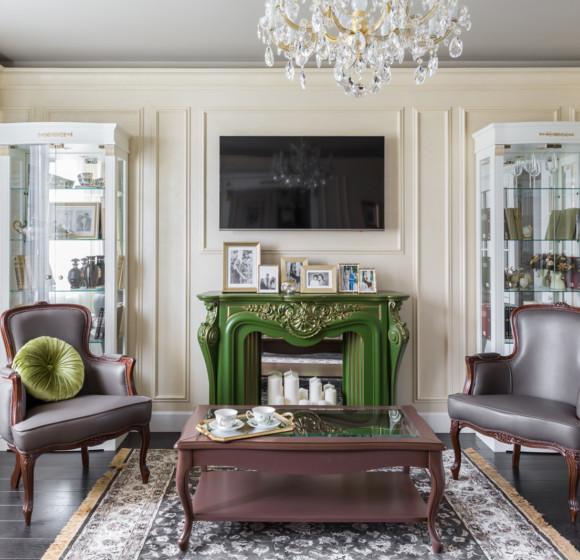 Квартира с зелёной кухней